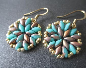 Handcrafted beadwoven turquoise and gold earrings