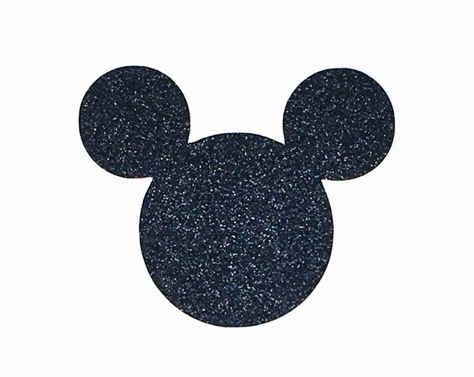 Featured listing image: Disney Mickey Mouse Die Cut Black Glitter Cardstock - 4 Inch Size - Scrapbook Greeting Card Birthday Party Decoration Art Craft