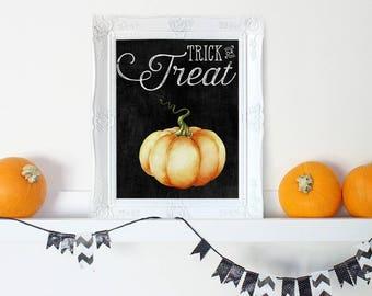 Rustic Halloween Decor, Pumpkin Print, Trick or Treat, Halloween Decorations, Primitive Halloween Decor, Halloween Printables, Fall Decor