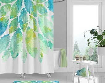 Shower Curtain Mint Green Aqua Blue White Shower Curtain, Bath Mat, Mosaic Shower Curtains, Bath Curtain, Floral Bathroom Decor