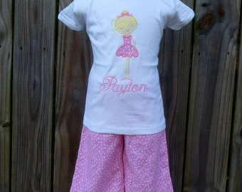 Personalized Ballerina Applique Shirt or Bodysuit Girl