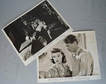 2 Vintage Gary Cooper Movie Photo Stills from 'Cloak and Dagger' 1946, Lilli Palmer Original Publicity Photos