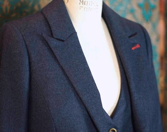 French Blue 3pc Flannel Suit----Custom Made for Women