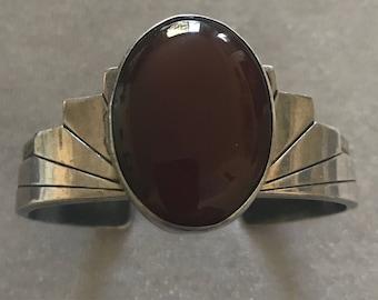Vintage Deco Sterling Carnelian Cuff Bracelet