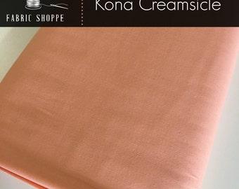 Kona cotton solid quilt fabric, Kona CREAMSICLE 185, orange fabric, Solid fabric Yardage, Kaufman, Cotton fabric, Choose the cut