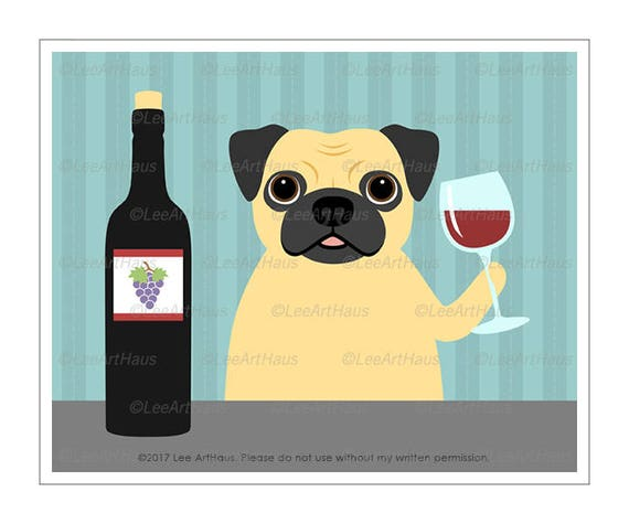 388D Dog Art Prints Pug Drinking Bottle of Wine Wall Art