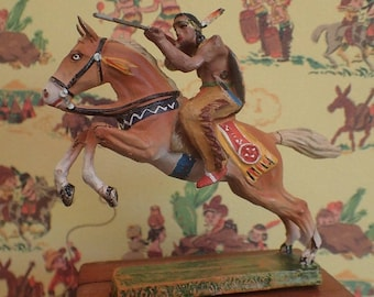 Wild West Elastolin toy figurine (1940/50's) American Indian Comanche with rifle on horseback