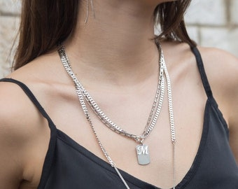 Silver Initial Necklace, Urban Necklace, Thick Chain Necklace, Urban Jewelry, Statement Necklace, Silver Layering Necklace, Charm Necklace
