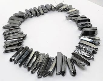 Silver Colour Quartz Points Crystal Point Beads Top Drilled Raw Quartz Crystal Stick Beads Silver Point Gemstones LynnsGemSupplies