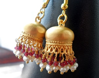 Jumka Bollywood style Earrings with Pearls and Garnet