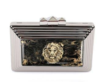 Tête de Lion pochette incrustée dans peint émail soirée néo victorien Leo sac avec la couleur et des Options personnalisées à la main