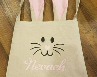 Easter bags,personalized Easter tote, customized Easter bag, Easter bag with ears, Easter gift, Easter gift for kids, reusable Easter tote