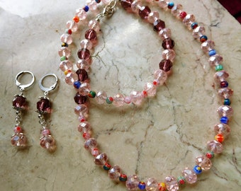Necklace and earrings set with  Mini MILLEFIORI Multi-Colors glass Beads, pink crystals, purple crystals beads.#NES00117