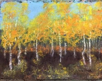 Golden - Aspen Trees Pastel Painting