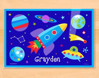 Kids Personalized Space Placemat, Olive Kids Out of This World Placemat, Kids Placemat, Rocketship, Planets, Outer Space, UFO, Mealtime