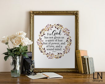 Instant 'For God has not given us a spirit of fear' 2 Timothy 1:7 Scripture Printable Art 8x10 Home Decor Bible Verse Wall Art