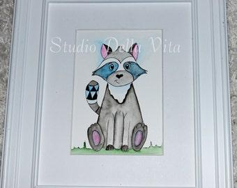 woodland theme, raccoon art, watercolor, painting, original art, nursery art, animal art, baby boy, baby girl, kids room, illustration,