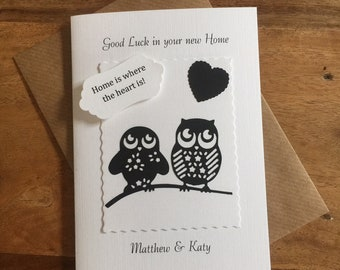 Good Luck in your New Home Card Cute Owls Black and White Handmade and Personalised