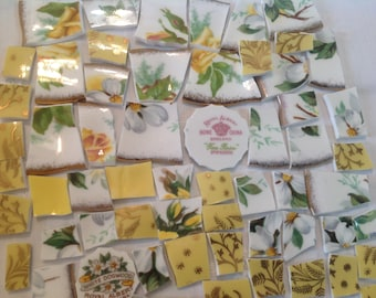 Broken China mosaic tiles~~Handcut Tiles~~SAFFron PReTTies