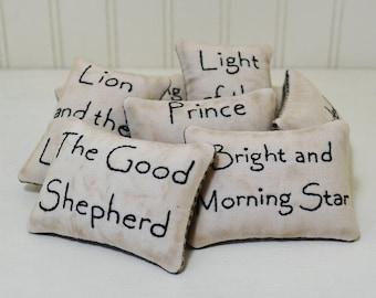 Names of Jesus Decorative Pillows - Christian Bowl Fillers - Primitive Tucks - Bible Scripture Home Decor - Hand Embroidery - Black Gingham