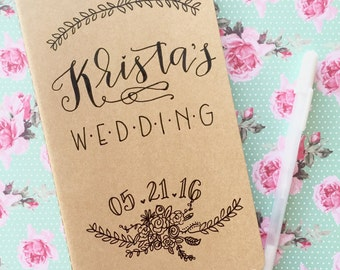 wedding planning notebook / wedding journal / wedding planner / hand lettered personalized journal.