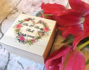Wedding ring box personalised with names and date