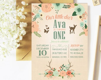 Deer Birthday Invitation Woodland Party Invitation Printable Invitation Our Little Deer Party Invitation First Birthday Coral Mint Fawn