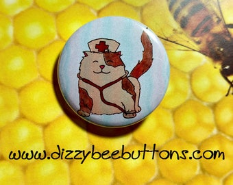 Nurse Kitty Cat with stethoscope - Pinback Button - Magnet - Keychain - adorable cute cat lovers kitten calico fluffy medical personnel dr