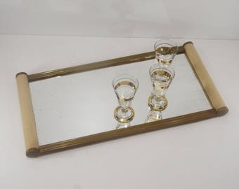 1930's french Art Deco Extra Long Serving Tray, Ivory Wood and Metal Mirror Tray For Dresser Mirrored