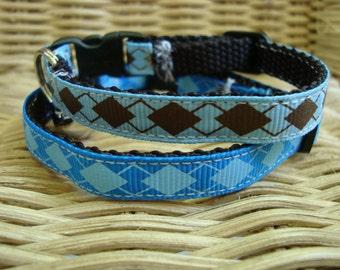 Blue Argyle Cat Collar