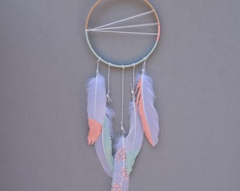 "6"" Pastel Pink and Aqua Dreamcatcher with Painted Feathers"