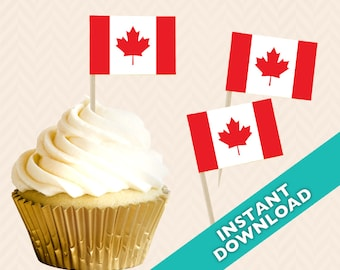 Canadian Flag Toothpick Party Decoration - Canada Party Food Flag, DIY printable maple leaf food flag, cupcake topper