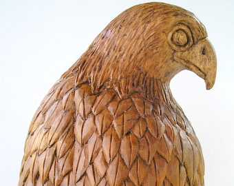 Falcon Wood carving, Handmade Woodcarving, 15,7 x 4,7 x 4,7 in.