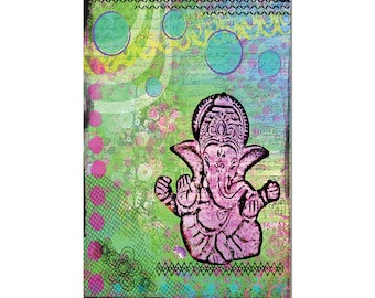 Ganesha Magnet Art - Uplifting and Inspiring Magnet Refrigerator - Office Decor - Kitchen Magnet- Gift - Yoga Lover - Office Decor
