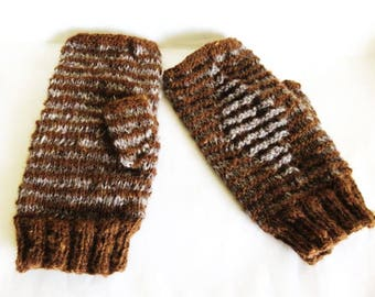 Brown and Grey Alpaca Fingerless Mitts with and Illusion Pattern