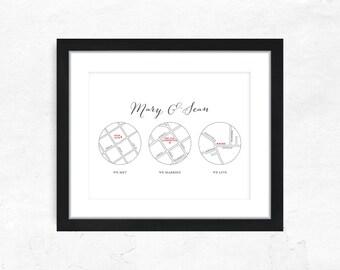 Custom Wedding Gift - We Met, We Married, We Live