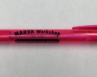 Custom Printed Pink Wide Body Retractable Pens, Excellent Tool for Home or Business -- Free Shipping!!