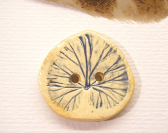 """Rustic, Handmade Pottery Button, LEAF, 15/16"""", ANIMAL Charity Donation"""