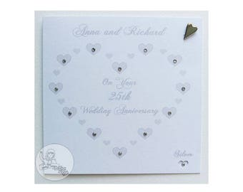 Handmade Personalised 25th Wedding Anniversary Card Silver Marriage Gift Hearts