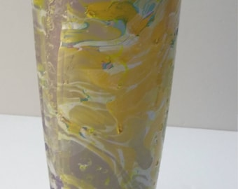 Hand Dipped Vase Purple/Yellow