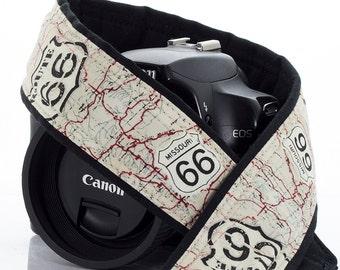 Route 66 Camera Strap, dSLR, US 66, Map, Canon Camera Strap, Nikon Camera Strap, Pocket, SLR, Vintage map, 158 w