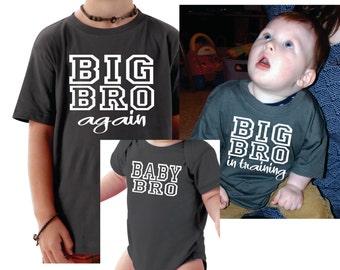 Set Of 3 Brother Shirts, Big Bro Again, Big Bro In Training, Baby Bro, Gift Ideas, Big Brother, Brother Shirt, Sibling Set Of 3 T-shirts