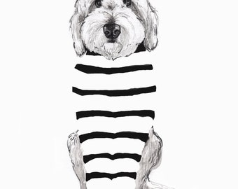 Doodle in Striped Shirt