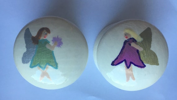 Flower Fairy Hand Painted Drawer Knob/ Cupboard Handle Hand Painted 2 Designs, 2 Sizes Available 40mm, 53mm Girls Bedroom Decor