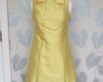 1960s Shannon Rodgers for Jerry Silverman Yellow Dupioni Silk Dress