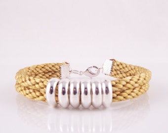 Emlyn (Double Stranded Gold Satin Cord Hand Braided Kumihimo Bracelet W/ Silver Plate Rings)