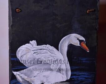 Swan, Handpainted Slate, Swan Painting, Swan Decor, Acrylic Painting, Acrylic Artwork, House Sign, Wall Decor, Home Decor, Bird Decor