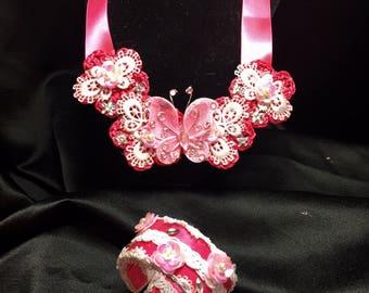 Crochet Girl's Necklace & Matching Bracelet