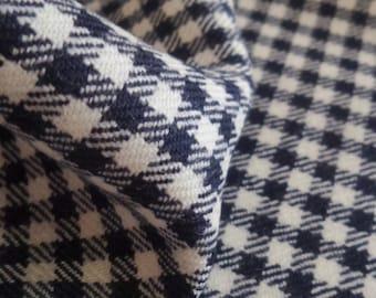 Luxury Vichy Karo Gabardine Navy and white pure virgin wool fabric made in Italy