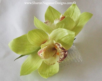 Green, cymbidium orchid, comb/clip, Real Touch flowers, silk, wedding/Bridal, hair flower, head piece